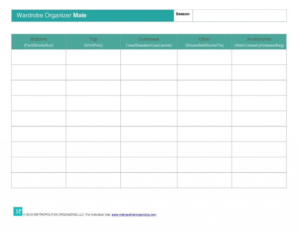 Printable Outfit Planner | Wardrobe Wisdom Worksheet - Male| Metropolitan Organizing®