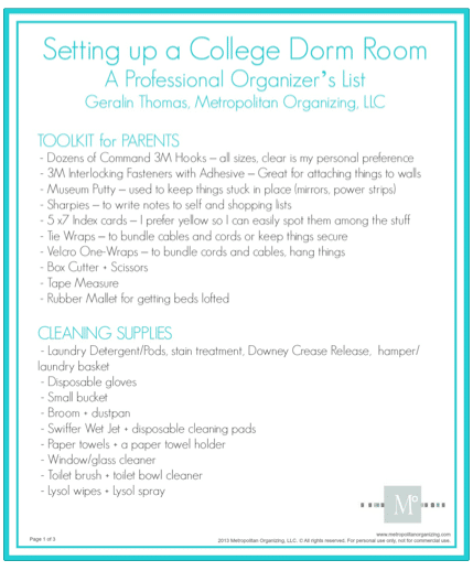 College Dorm Room Checklist | Download | Professional Organizer ...
