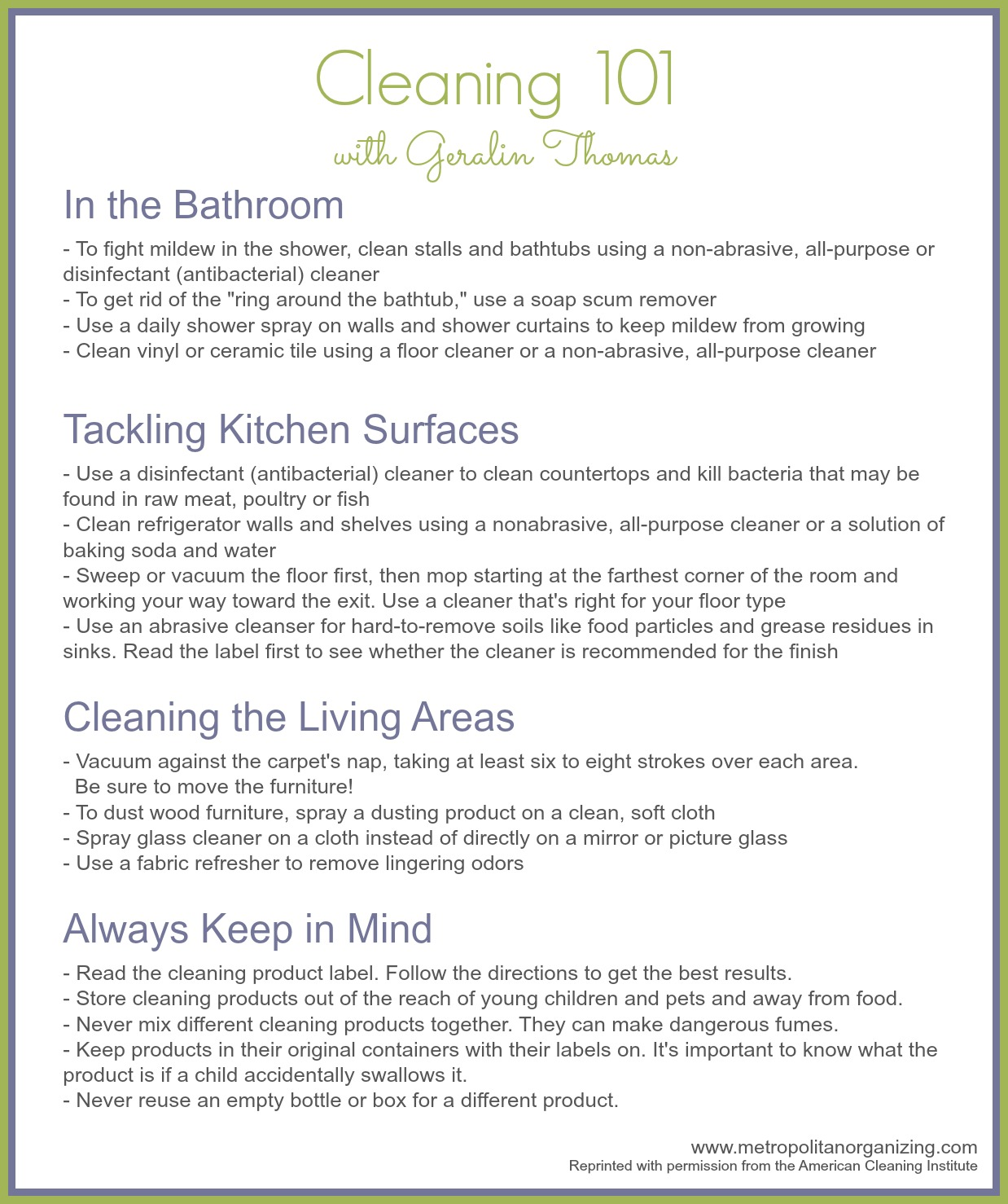 Learn Cleaning 101 with Professional organizer Geralin Thomas and