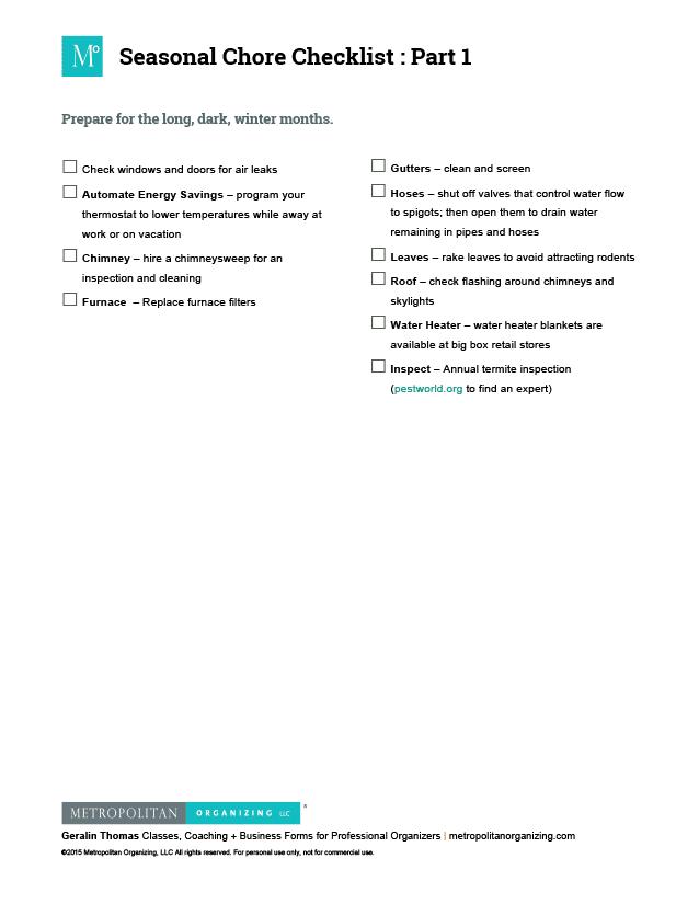 Checklist of Tiny Tasks   Seasonal Chores Part 1   Metropolitan Organizing®