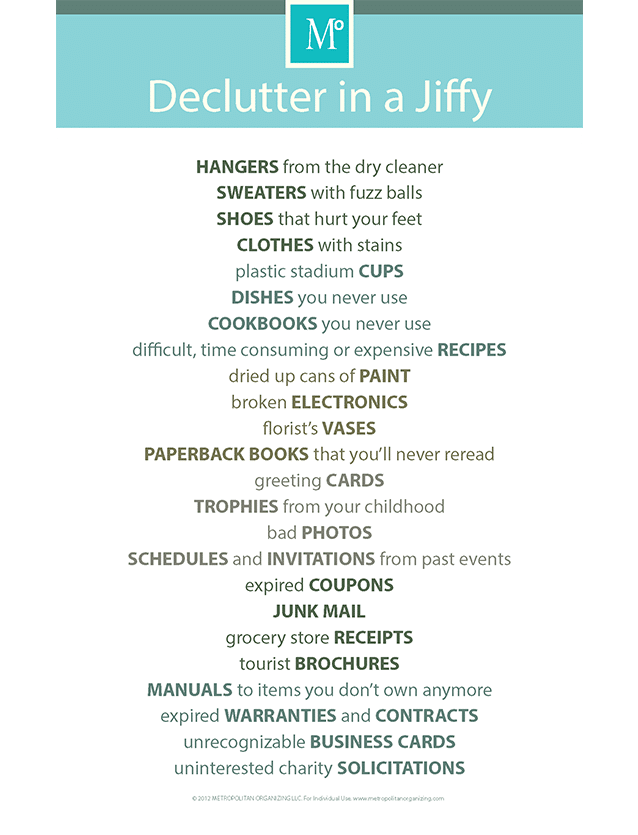 Checklist of Household Items to Declutter with no Regrets | Declutter in a Jiffy | Metropolitan Organizing®