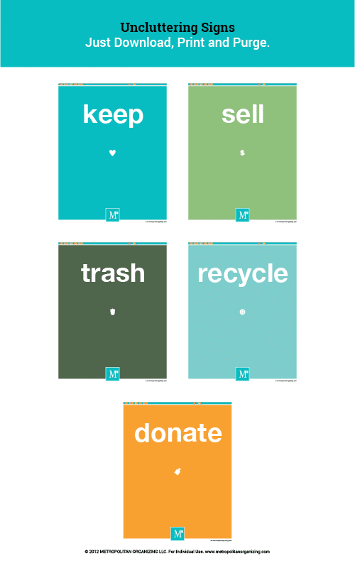 Free Printable Labels for Organizing, Decluttering, Keeping, Donating | Metropolitan Organizing®
