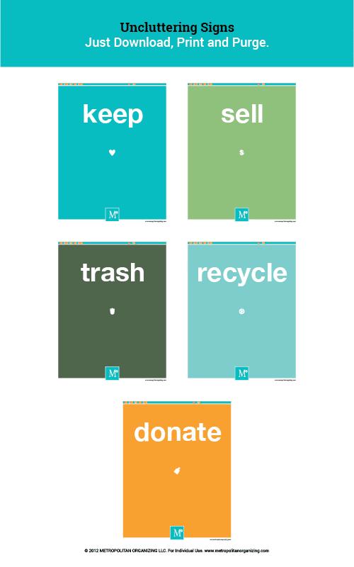 Free Printable Labels for Organizing, Decluttering, Keeping, Donating | Metropolitan Organizing®