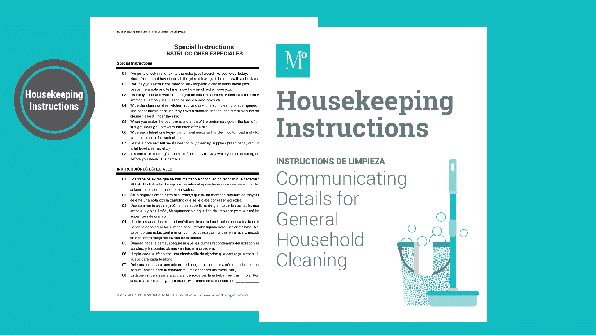Clear, bilingual instructions  for housekeepers