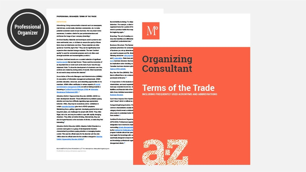 Glossary page in terms for professional organizers