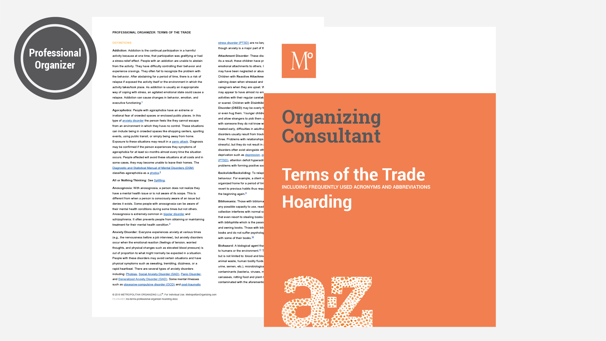 Cover and Inside spread of professional organizer hoarding dictionary