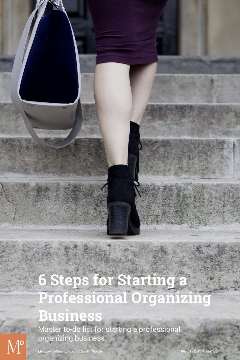 business woman walking up steps symbolizing 6 steps to starting a professional organizing business