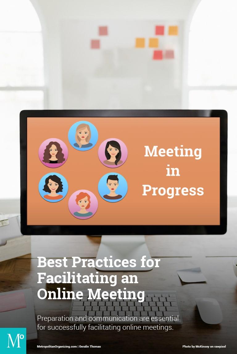 desktop computer connected to online meeting graphic