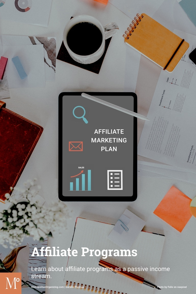 iPad On Messy Desk Displaying Affiliate Program Marketing Plan