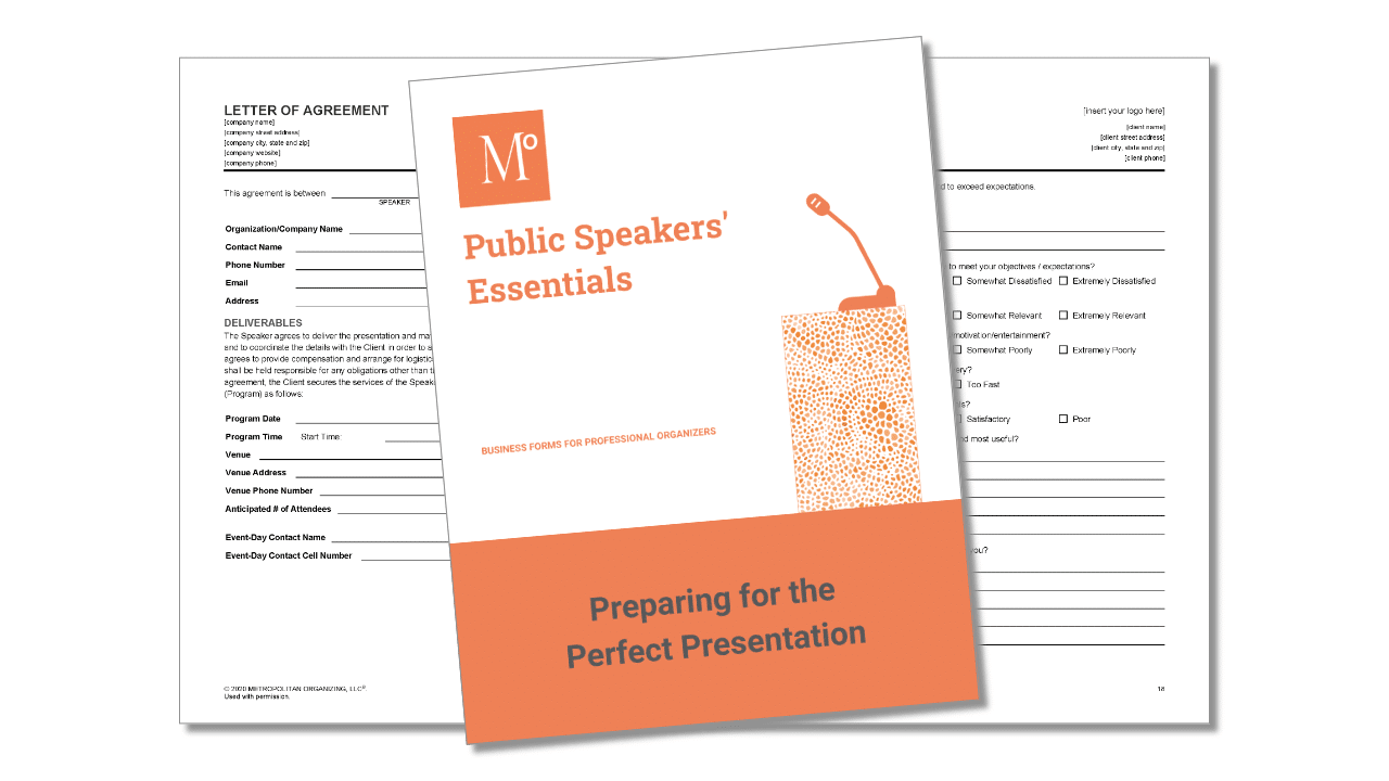 Cover and inside view of Public Speakers' Essentials forms