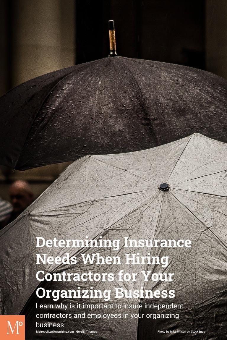 black umbrella and grey umbrella in rain representing determining insurance coverage needs when hiring contractors